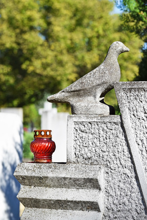 red cross red bird: Dove and lantern on the tombstone in the public cemetery