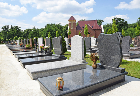 tombstones: Tombstones and a chapel in the public cemetery