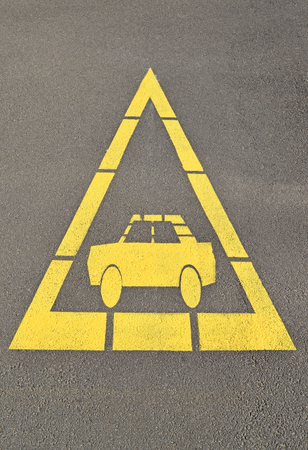 amber light: Car sign at the road crossing, danger Stock Photo