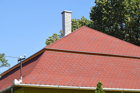 Roof of a building with shingle Stock Photo