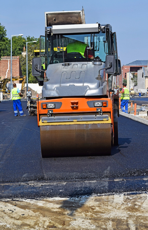 steam roller: Construction of a new road in the city