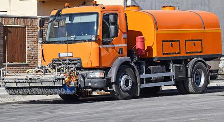 Street sweeper vehicle in the city Reklamní fotografie