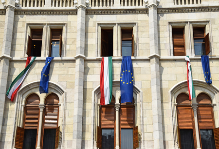 parliament building: Windows of the Parliament building, Budapest Stock Photo