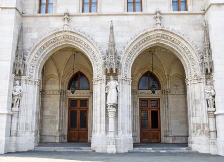 parliament building: Gates of the Parliament building, Budapest Stock Photo