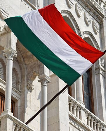 parliament building: Hungarian flag on the wall of the Parliament building, Budapest
