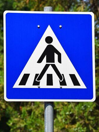pedestrian crossing: Pedestrian crossing road sign Stock Photo