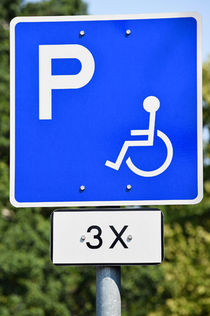 disabled parking sign: Disabled parking lot sign Stock Photo