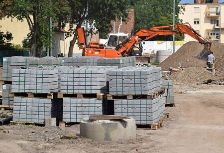 frontend: Paving stones at the road construction