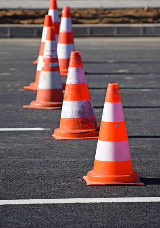 Traffic cones in a row Stock Photo