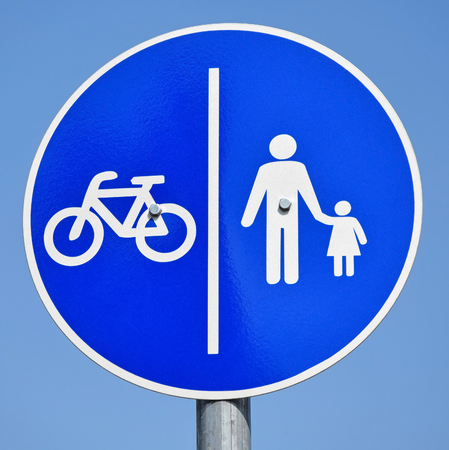 crossings: Bicycle and pedestrian road sign