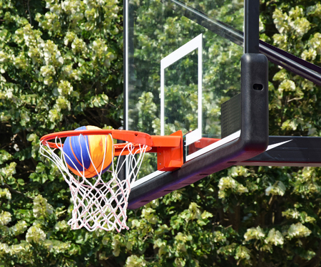 professional basketball league: Basketball hoop and ball Stock Photo