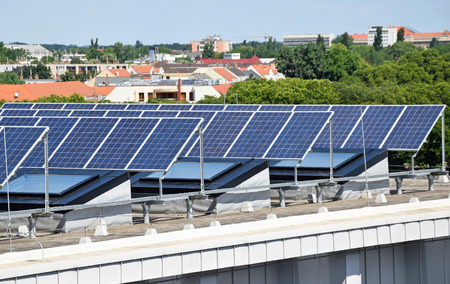 Solar panels on the top of the building
