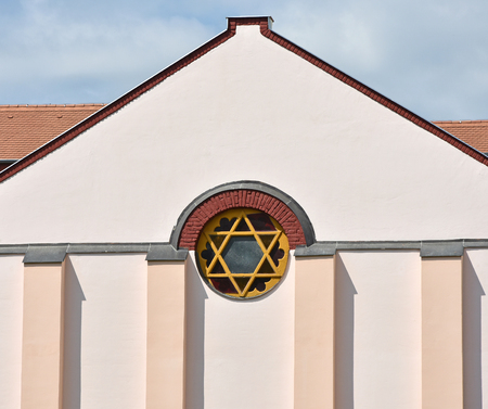synagogue: Wall and window of the synagogue building Stock Photo