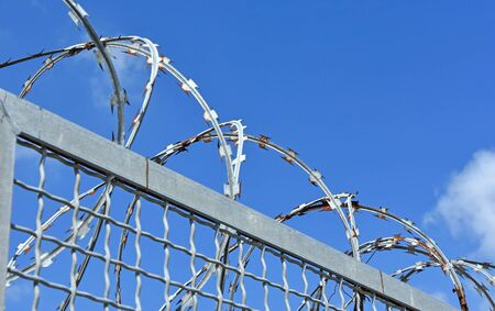 barbed wire fence: Barbed wire fence of the prison