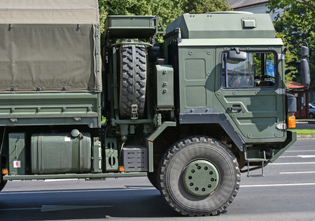 bullet proof: Military truck vehicle on the road