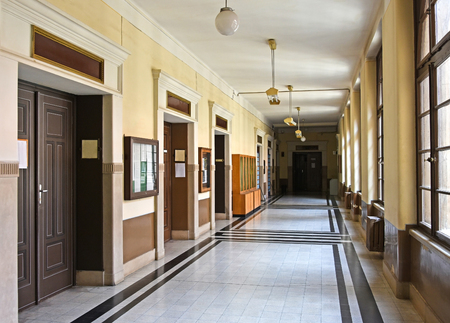 plafond: Corridor of the university building, Debrecen, Hungary