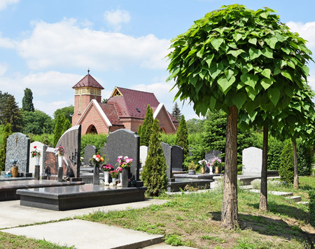 tombstones: Tomb Stones and the public chapel in the cemetery Stock Photo