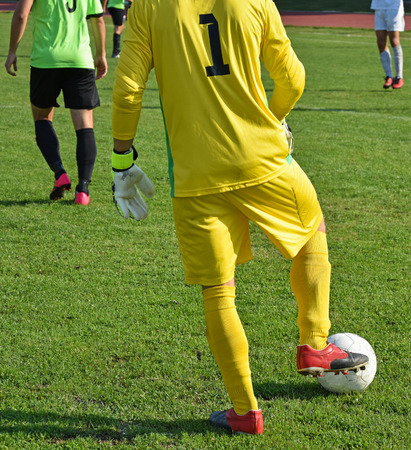 arquero futbol: Soccer goalkeeper with a ball on a match Foto de archivo