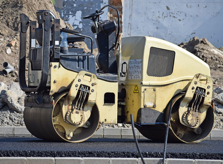 roller compactor: Stam roller at the road construction Stock Photo