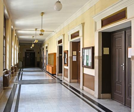 plafond: Corridor of the university building Stock Photo