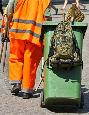 sweeper: Street cleaner at work in the city Stock Photo