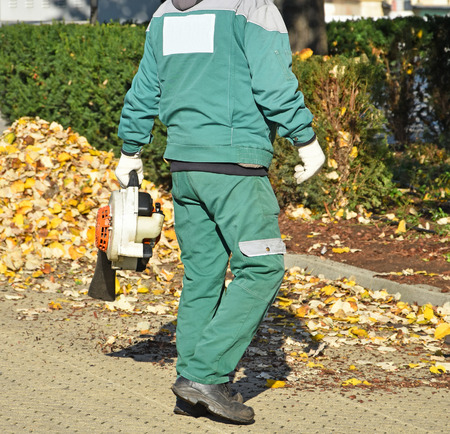 Street cleaners work in autumn on the street