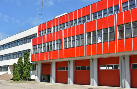 fire door: Fire station in the city Stock Photo