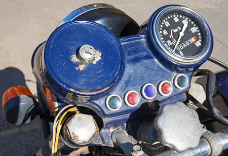 sidecar: Dashboard of an old motorcycle Stock Photo