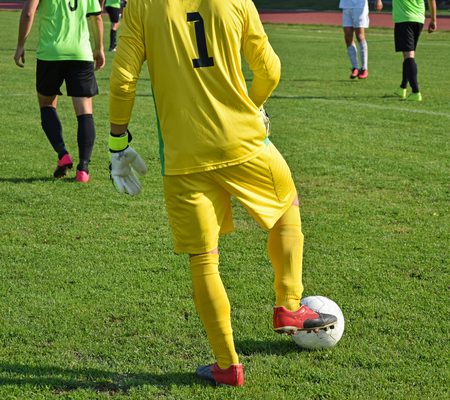 Soccer goalkeeper with a ball on a match Stock Photo