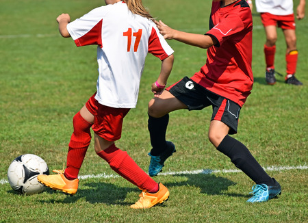 Children are playing soccer