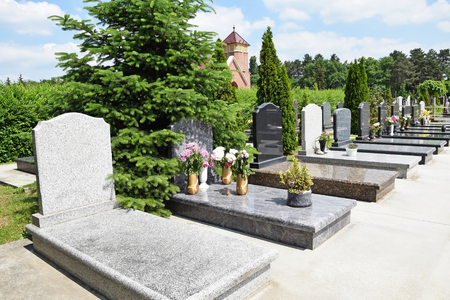 Tomb Stones in the cemtery Stock Photo