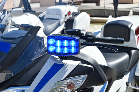 Blue lights on the police motorcycle