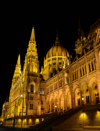 windows and doors: Parliament building of Budapest by night, Hungary
