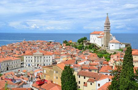 View of Piran town in Slovenia Foto de archivo
