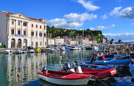 Harbor of Piran city, Slovenia Foto de archivo