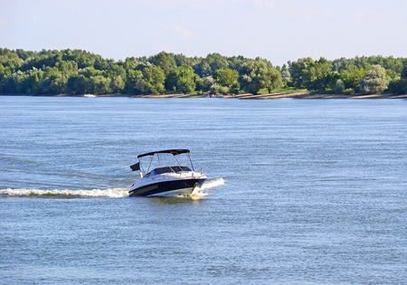 Motorboat on the river