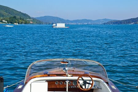 Motorboat on the lake Worth in Austria