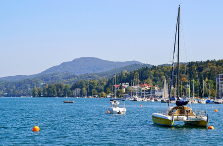 Boats on the lake Worth in Austria