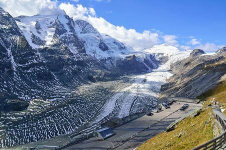 Pasterze glacier next to Grosslockner mountain in Austria