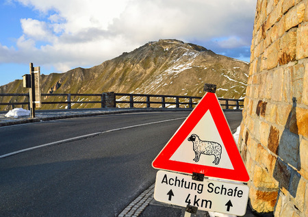 Animals on the road danger sign in the alps