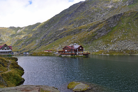 Lake and mountains in Transylvania, Romania  写真素材