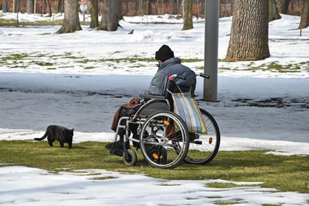 Old man in wheelchair with his cat outdoor in winter Stock fotó