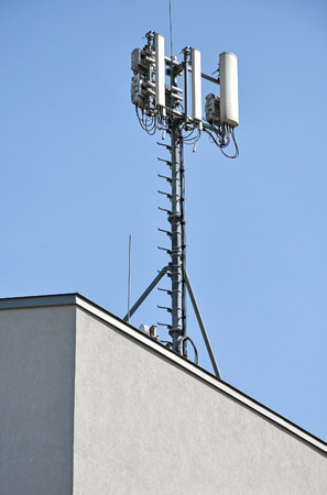 Antennas on the top of a building