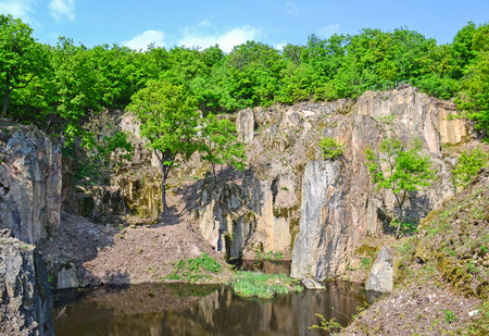 Rocks of the mountain Megyer, Hungary Standard-Bild - 100992769