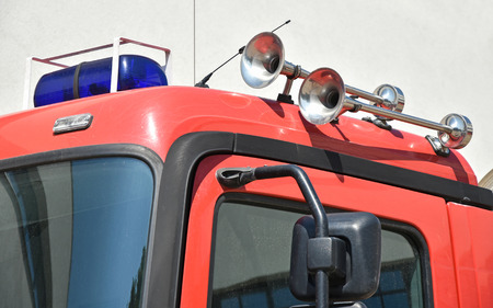Horns and siren on the top of a firefighter vehicle