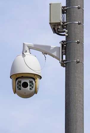 Security camera on a pole outdoor