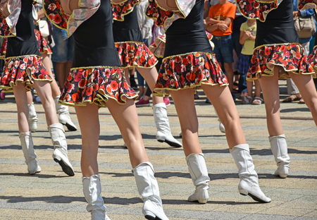 Drum majorettes dancing outdoor