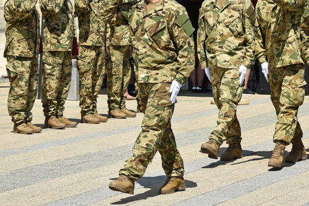 Soldiers at the military parade Stock Photo