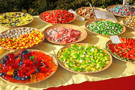 Colorful candies for sale outdoor