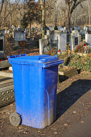 Garbage can in the public cemetery